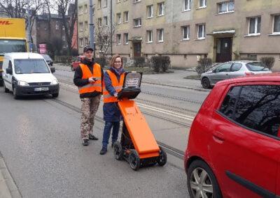 Usługi georadarowe – Katowice – kwiecień 2019, badania kontrolne podtorza tramwajowego.