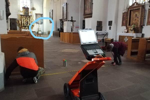 Usługi georadarowe – Malbork – luty 2020, badanie kościoła św. Jana Chrzciciela.