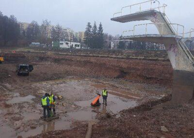 Usługi georadarowe – Nowa Ruda – Luty 2019, określenie grubości płyty dennej basenu oraz zbrojenia