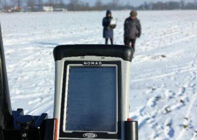 Usługi georadarowe – Mińsk Mazowiecki – luty 2019, lokalizacja systemów drenarskich (jako kolizji) przed pracami ziemnymi